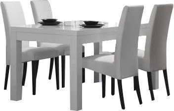 Table à manger blanche et grise 190 cm + 4 chaises - Salle à ...