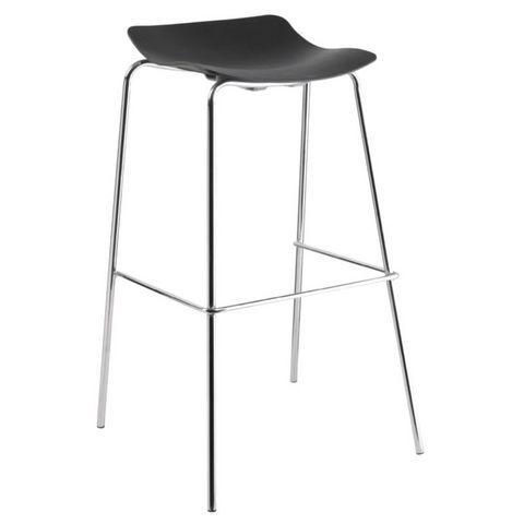 COMFORIUM - Chaise haute de bar-COMFORIUM-Lot de 4 tabourets de bar empilables coloris noir