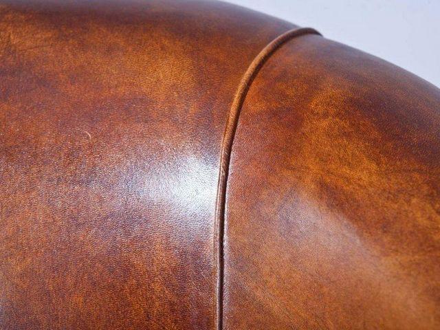 WHITE LABEL - Fauteuil club-WHITE LABEL-Fauteuil vintage CORNWELL en cuir marron