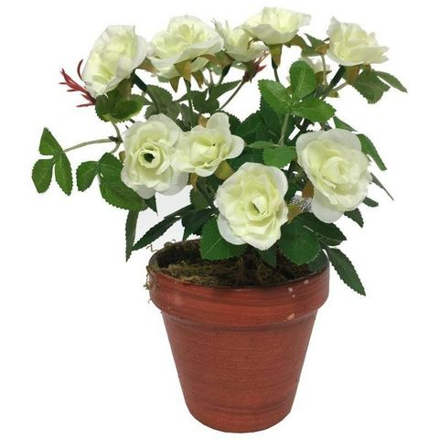 CHEMIN DE CAMPAGNE - Fleur artificielle-CHEMIN DE CAMPAGNE-Grand Rosier Artificiel Blanc 23 cm