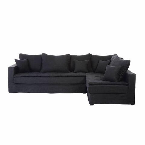 Canapé d'angle 5 places en lin lavé gris charbon ...