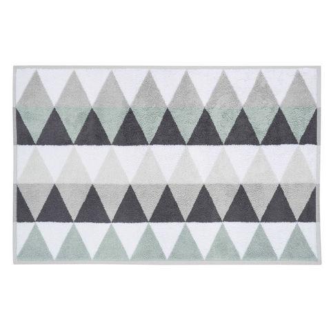 tapis de bain en coton blanc gris 50 x 80 cm triangletapis. Black Bedroom Furniture Sets. Home Design Ideas