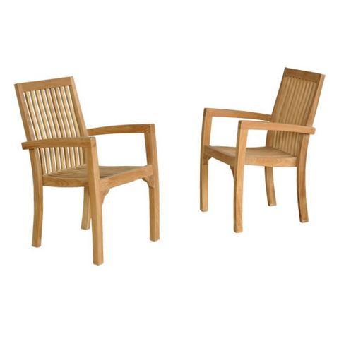 BOIS DESSUS BOIS DESSOUS - Fauteuil de jardin-BOIS DESSUS BOIS DESSOUS-Lot de 2 fauteuils de jardin empilables en bois de