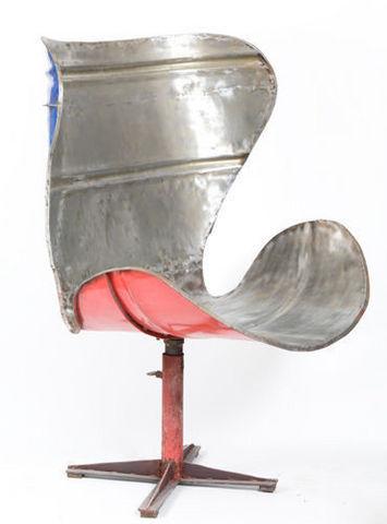 PO! PARIS - Fauteuil rotatif-PO! PARIS-Grand fauteuil en métal de récupération
