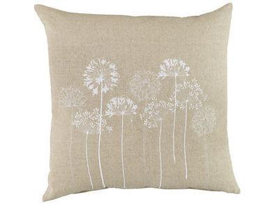 BELDEKO - Coussin carré-BELDEKO-Coussin lin fleur Blanche
