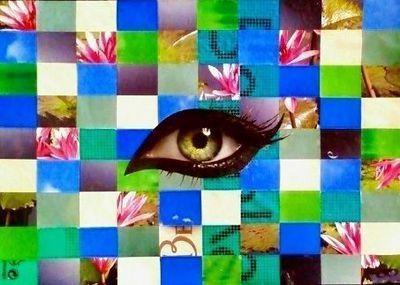 JOHANNA L COLLAGES - Tableau contemporain-JOHANNA L COLLAGES-Wanted nenuphar 40x60 cm