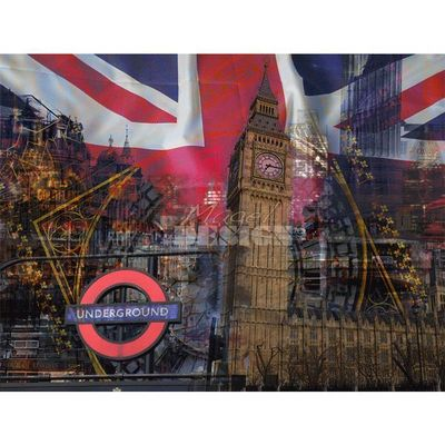 Magel'design - Tableau contemporain-Magel'design-Big Ben London 120x90 cm , 3D effet relief
