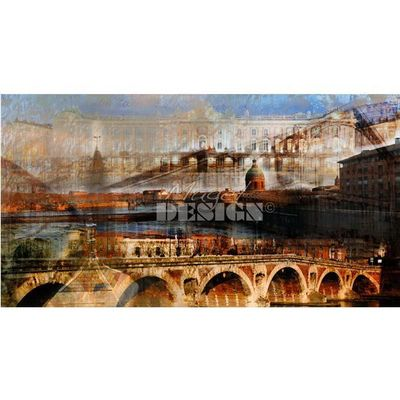 Magel'design - Tableau contemporain-Magel'design-Toulouse Garonne 150x80 cm , 3D effet relief