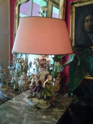 Art & Antiques - Lampe à poser-Art & Antiques-Lampe en Saxe XIXe