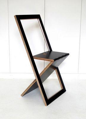 Sodezign - Chaise-Sodezign-Chaise Pliante Design En Bois - Noir
