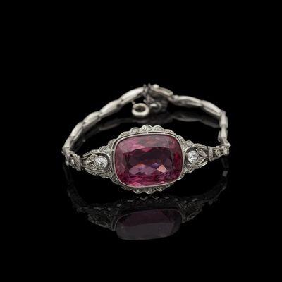 Expertissim - Bracelet-Expertissim-Bracelet en platine orné d'une tourmaline rose et