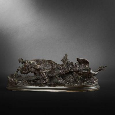 Expertissim - Sculpture animali�re-Expertissim-Pierre Jules MENE. Bronze chien �pagneul-griffon a