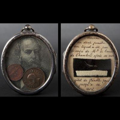 Expertissim - Portrait Miniature-Expertissim-Buste du comte de Chambord en cristal et cadre rel