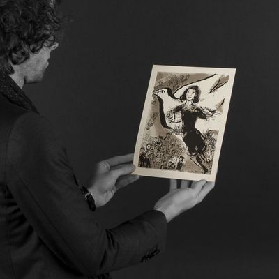 Expertissim - Lithographie-Expertissim-Marc  CHAGALL (d?après). Anne Franck, lithographie