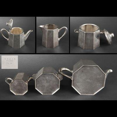Expertissim - Service à thé-Expertissim-ERCUIS. Service à thé à pans coupés en métal argen