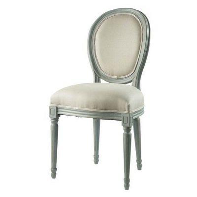 Maisons du monde - Chaise médaillon-Maisons du monde-Chaise grise lin Louis