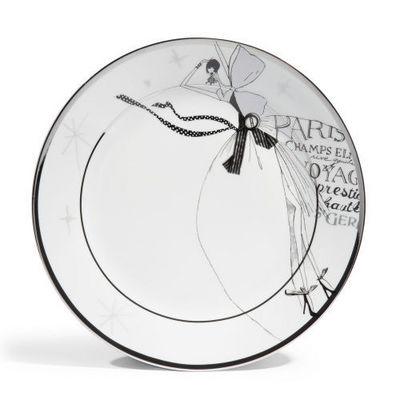 Maisons du monde - Assiette plate-Maisons du monde-Assiette plate Haute couture blanc