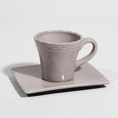 Maisons du monde - Tasse à café-Maisons du monde-Tasse à café Romance gris foncé