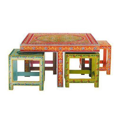 Maisons du monde - Table basse carrée-Maisons du monde-Table basse et ses 4 tabourets Roulotte