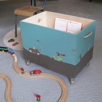 ICI LA TERRE - Coffre à jouets-ICI LA TERRE-Coffre à jouets  en bois à roulettes - Napoli
