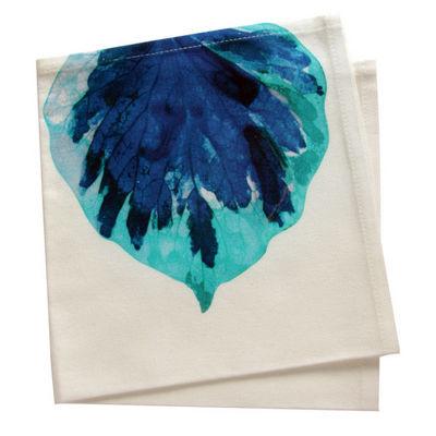 TROIS MAISON - Serviette de table-TROIS MAISON-SERVIETTE DE TABLE motif FEUILLE bleue