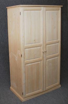 BARCLER - Armoire à portes battantes-BARCLER-Armoire 2 portes en bois brut 100x56x180cm