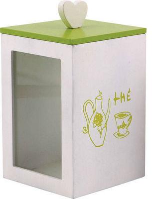 BARCLER - Boite à thé-BARCLER-Boîte à thé en bois vert et blanc 12x20x12cm