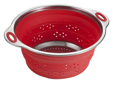 Brandani - Passoire-Brandani-Passoire rétractable en silicone et inox rouge 28x