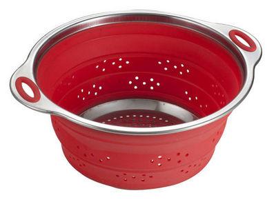 Brandani - Passoire-Brandani-Passoire r�tractable en silicone et inox rouge 28x