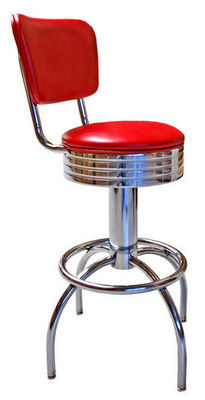 US Connection - Chaise haute de bar-US Connection-Tabouret de Bar 300-782RB Dossier Rouge Satin�