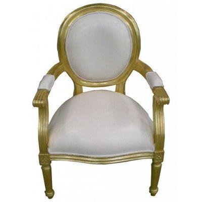 DECO PRIVE - Fauteuil-DECO PRIVE-Fauteuil cabriolet dore et imitation cuir blanc