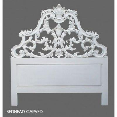 DECO PRIVE - Tête de lit-DECO PRIVE-Tete de lit baroque en bois blanc sculptee 160 cm