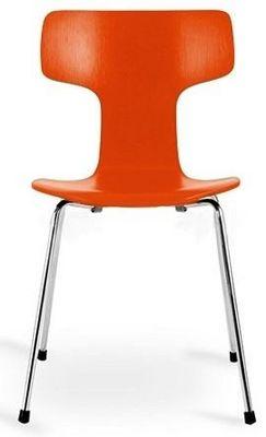 Arne Jacobsen - Chaise-Arne Jacobsen-Chaise 3103 Arne Jacobsen orange Lot de 4