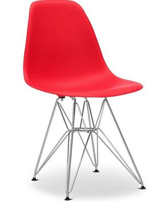 Charles & Ray Eames - Chaise r�ception-Charles & Ray Eames-Chaise rouge DSR Charles Eames Lot de 4