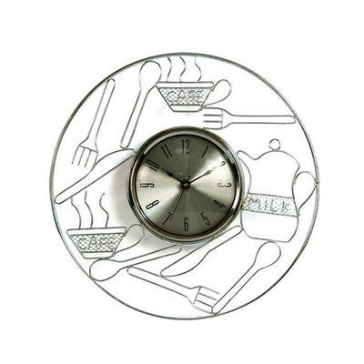 WHITE LABEL - Pendule murale-WHITE LABEL-Horloge de cuisine en métal chromé