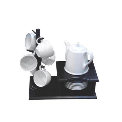 WHITE LABEL - Service à café-WHITE LABEL-Service à café Yin Yang sur son support en bois