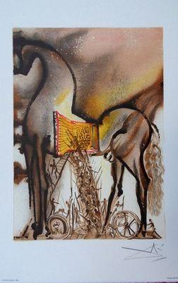 ARMAND ISRAËL - Lithographie-ARMAND ISRAËL-Cheval Troie de Salvador DALI lithograph