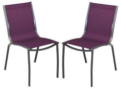 PROLOISIRS - Chaise de jardin-PROLOISIRS-Chaise linea en aluminium royal grey et textilène