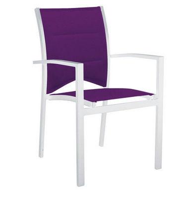 WILSA GARDEN - Chaise de jardin-WILSA GARDEN-Fauteuil de jardin modulo blanc parmes en aluminiu