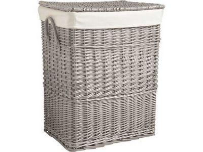 Aubry-Gaspard - Panier de rangement-Aubry-Gaspard-Corbeille à linge en osier gris 46x34x60cm