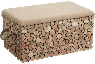 Aubry-Gaspard - Tabouret-Aubry-Gaspard-Coffre banc rondins en sapin et jute 55x30x25cm
