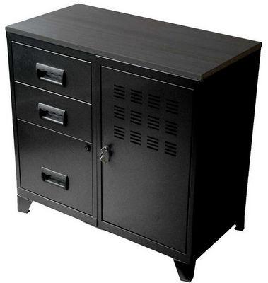 PHSA - Armoire de bureau-PHSA-Armoire 1 porte 3 tiroirs en métal noir 80x40x75,8