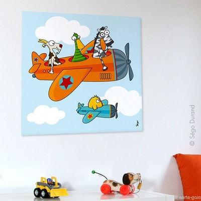 SERIE GOLO - Tableau décoratif enfant-SERIE GOLO-Toile imprimée Ça plane 60x60cm