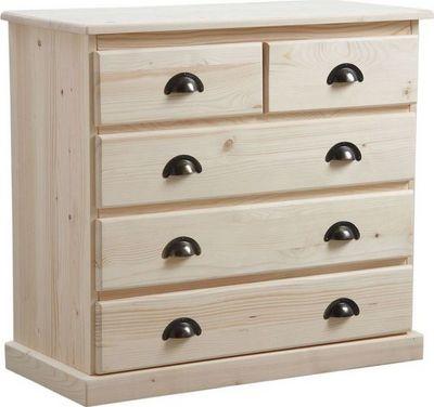 BARCLER - Commode-BARCLER-Commode 5 tiroirs en bois brut 83x77x40cm