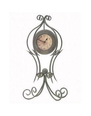 L'HERITIER DU TEMPS - Horloge à poser-L'HERITIER DU TEMPS-Pendule en Fer Patiné Vert 77cm