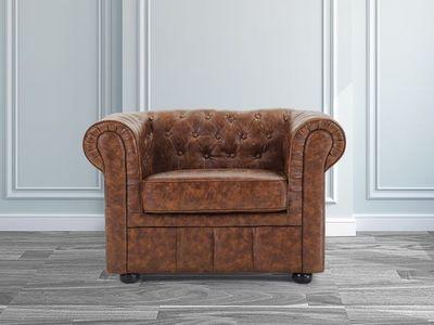 BELIANI - Fauteuil Chesterfield-BELIANI-Fauteuil en cuir brun Old Style CHESTERFIELD