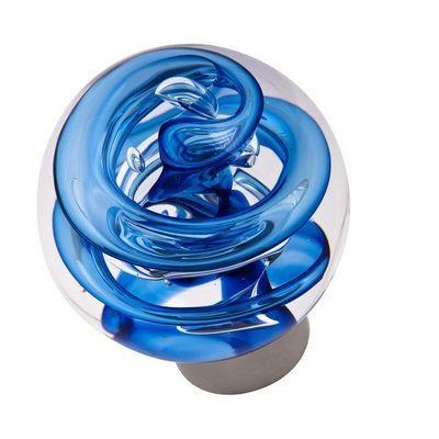Les Verreries De Brehat - Bouton de porte-Les Verreries De Brehat-Tubes de bulles sphérique bleu