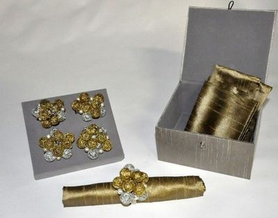 Demeure et Jardin - Rond de serviette-Demeure et Jardin-Coffret Rond de serviette bulles or et argent