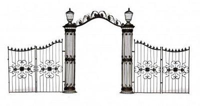 Demeure et Jardin - Pilier de portail-Demeure et Jardin-Arche  colonnes et grilles en fer forgé