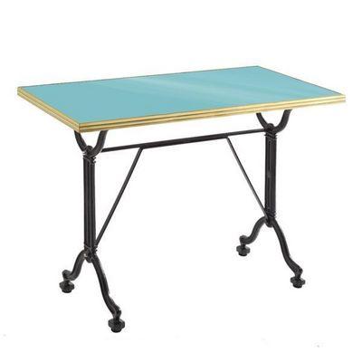Ardamez - Table de repas rectangulaire-Ardamez-Table de repas émaillée turquoise / laiton / fonte